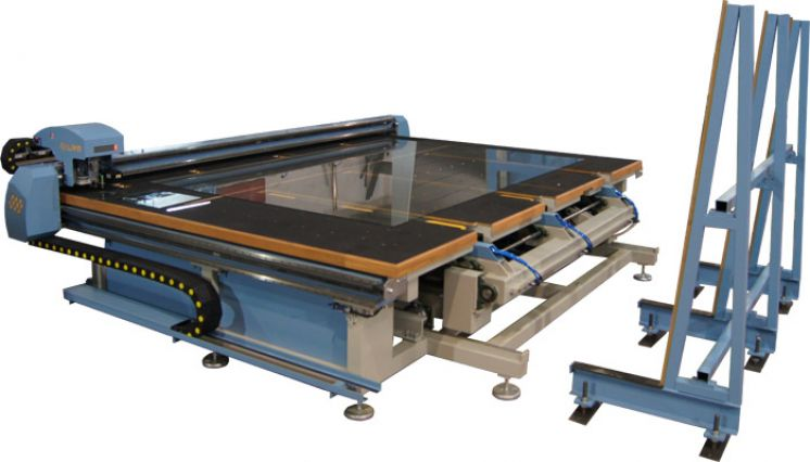 CNC STOL ZA REZANJE STAKLA SA AUTOMATSKIM UTOVAROM (glass cutting table with automatic glass loader) ROBOTECH